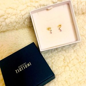 TSUTSUMI 10k japan gold earrings with pink stone